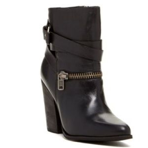 Joes Jeans Black Leather Moto Booties